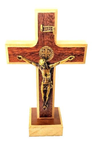 Crucifixo Madeira Metal De Mesa São Bento 13cm