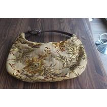 Bolsa Em Tecido Dourada Bordada Alça Em Couro Berloca Design