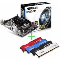 Kit Asrock D1800m Celeron Dual Core 2.41ghz+ 4gb 1600 Hyperx