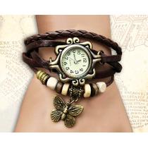 Relógio Couro Marrom Feminino Pingente Borboleta Frete 5 R$!