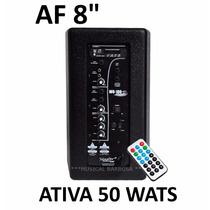 Caixa Som Ativa 50w Rms Bluetooth Usb Af8 1 Ano Garantia