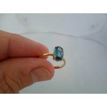 Anel Ouro 18k 750 Com Pedra Topazio