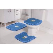 Jogo De Piso De Banheiro 3 Peças Atoalhado Bordado Azul
