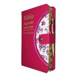 Bíblia Sagrada Feminina Letra Gigante Com Harpa Botão Caneta