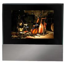 Porta Retrato Foto 10x15cm Vidro Na Cor Preta E Suporte Inox