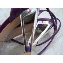 Sandalia Di Cristalli Tornozelo Uva Salto Cromado 36