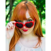 Óculos Formato Coração Lolita Vermelho Escuros Vintage Retro
