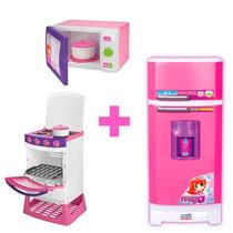 Kit Geladeira Super Sai Agua+microondas+ Fogao Magic Toys