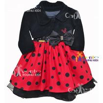 Vestido De Festa Infantil Minnie/joaninha Com Bolero E Tiara
