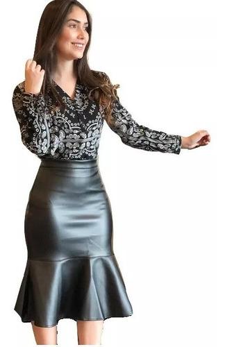 036b737835b8 Saia Evangelica Cirre Couro Midi Moda Executiva Social Moda