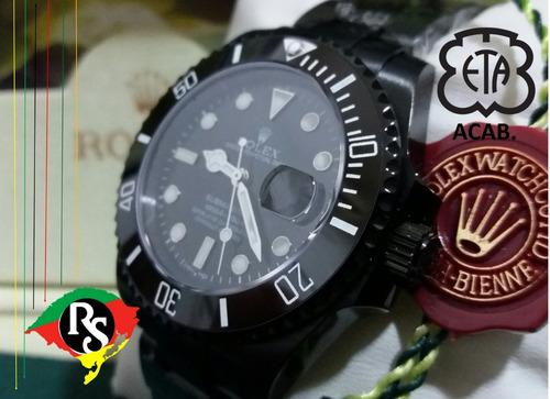 8764a663119 Relogio Rolex Top Acab Eta Submarine Safira Preto Pvd Lxrs