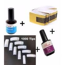 Kit 400 Adesivos+ 1000 Tips Unha P/ Gel+ 1 Primer+ 1 Selante
