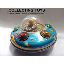 Brinquedo Antigo - Disco Voador De Lata Da Glasslite - 80