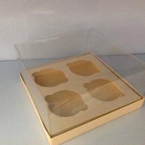 Caixa 4 Cupcakes Com Base Papel Tampa De Acetato 10 Uni