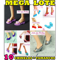 Kit C/ 10 Pares De Chinelos E Tamancos P/ Barbie * Sapatinho