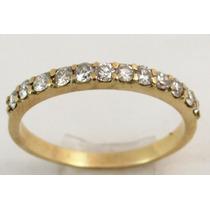 Feliz Joias - Ouro 18k E Diamantes Brilhante Em 1/2 Aliança