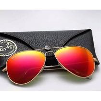 Óculos Ray Ban Aviador Vermelho Masculino Feminino Original