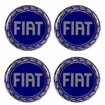 Emblema Fiat Azul Botom Calota Roda Resinado 48 Mm 4unidades