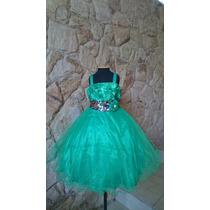 Vestido Infantil / Festa / Casamento Verde Tinker Paetês