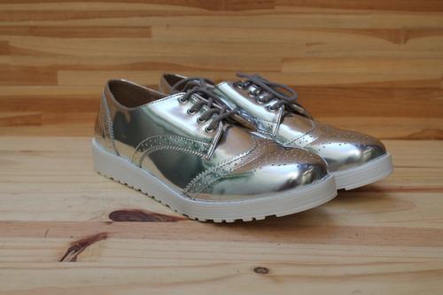 8c5258b74 Sapato Feminino Oxford Metalizado Prata Via Uno Tam 38