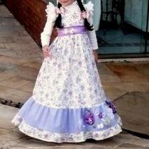 Vestido Infantil Longo Festa Junina Tam 5 - 7 Anos Camponesa