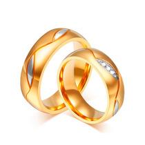 Alianças Casamento Aço Inox Banhada Ouro Dourada Anatômica