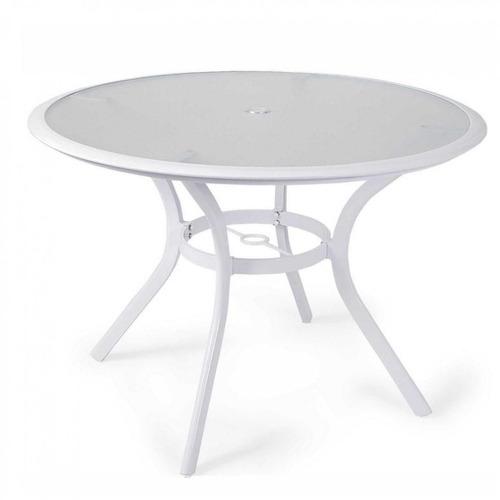 Mesa Com Tampo De Vidro 110cm Mestra Móveis Branco Bh