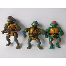 Lote Com 3 Tartarugas Ninjas Antigos - Playmates Toys.