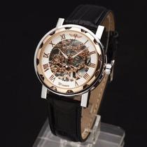 Relógio Pulso Winner Esqueleto Mov Mecânico Branco Dourado