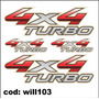 Kit 4 Adesivos Para Carro E Caminhonete 4x4 Turbo Will103