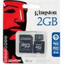 Cartão De Memória 2gb Micro Sd + Adaptador Kingston Original