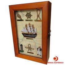 Porta Chaves Barco Caravela Madeira Decorativo 30cm