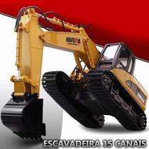 Escavadeira Controle Rec 15-ch. Huina 1550 + Bateria Reserva