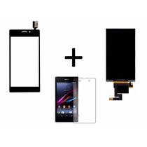 Vidro Touch + Display + Pelicula Vidro Xperia M2 Aqua Preto