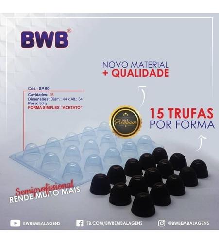 Kit 5 Formas Simples De Acetato Trufa Grande Sp 90 Bwb