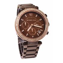 Relógio Michael Kors Mk5578 Marrom Strass Original- Garantia