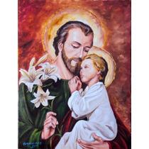 Quadro São José Pintura Sacra Óleo Sobre Tela 30x40cm