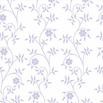 Papel De Parede Folhas Lilas Sobre Branco Vinílico