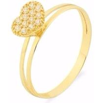 Anel De Ouro 18k Solitário Corações Com Pedra