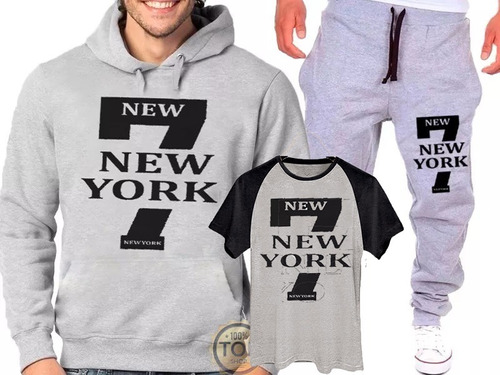 Kit Calça + Blusa Moletom+camisa 7 New York Academia Unissex 0febf1e53a5