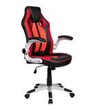 Cadeira De Escritório Pelegrin 3009 Gamer Preta E Vermelho Con Estofado Do Couro Sintético