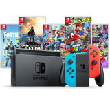 Nintendo Switch 32gb Neon Blue Red Bivolt + Jogo / Game