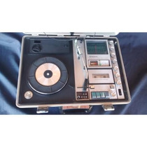 Vitrola 3 Em 1 Sanyo Portátil Funcionando Toca Disco Profiss