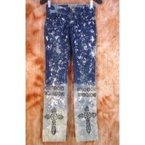 Calça Jeans Lycra 36 Customizada Pintura Artesanal