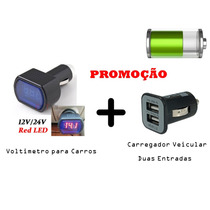 Voltímetro Digital Automotivo 12-24v Bateria + Carregador