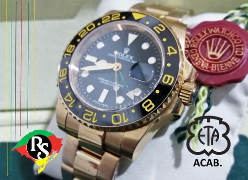 84dfac5da68 Relogio Rolex Acab Eta Gmt Master Preto Dourado Safira Lxrs