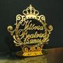 Topo De Bolo Acrílico Espelhado Dourado Personalizad 15 Anos