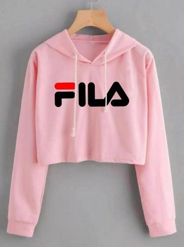4816556470 Cropped Blusa Curta De Moletom Filla Moda Feminina Rosa