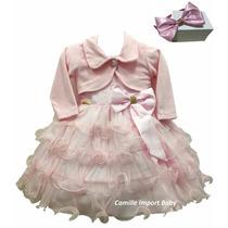 Vestido Infantil Festa Luxo Princesa Rosa Com Bolero E Tiara