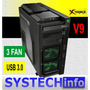 Gabinete Gamer Xtrike V9 Preto Usb Audio 3 Fan Led Verde